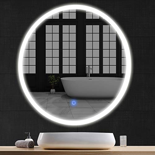 """Tangkula 24"""" LED Mirror Round Wall Mount Lighted Mirror ..."""